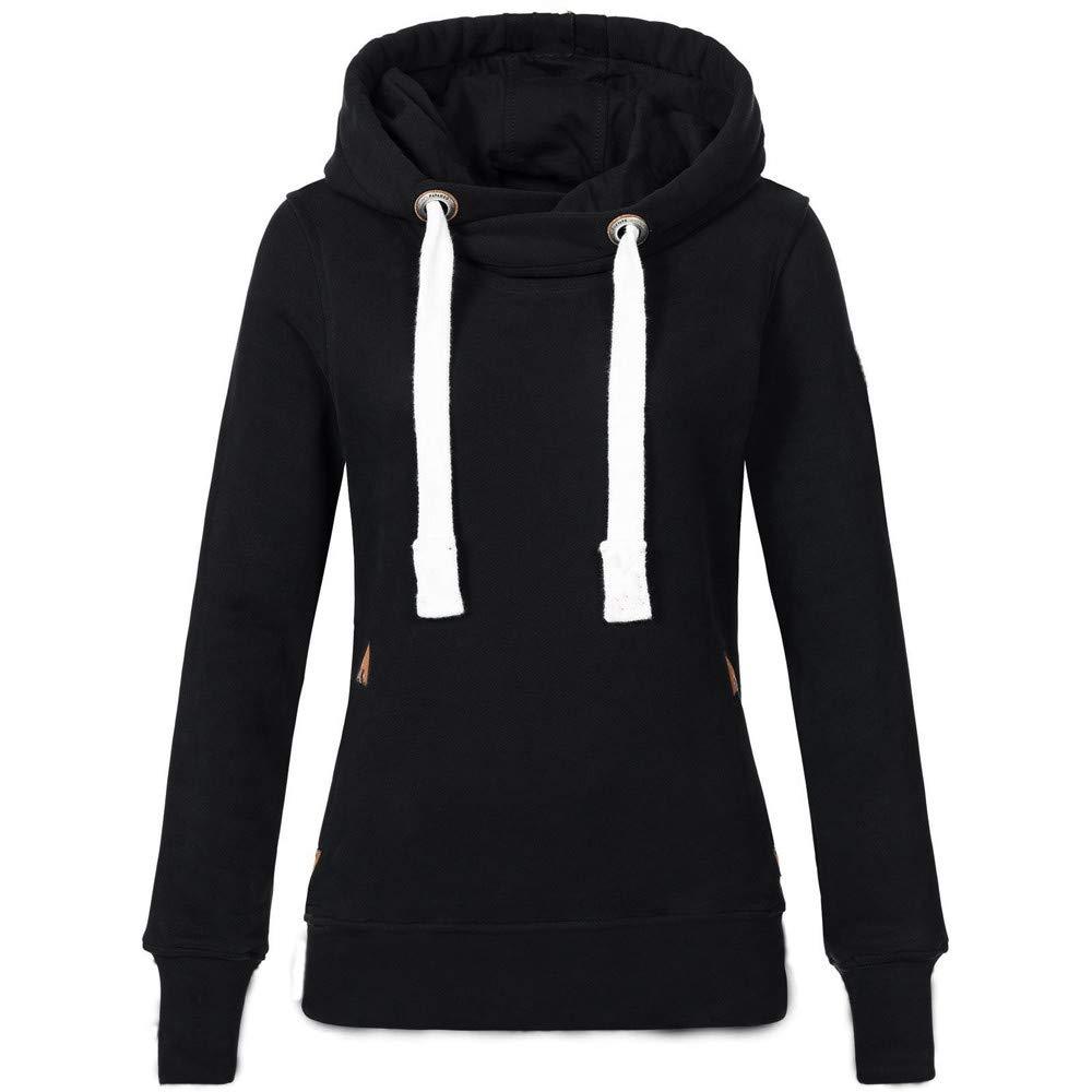 Womens Hoodie Sweatshirt Women Plus Size Long Sleeve Solid Hooded Pullover Tops Shirt XXXL