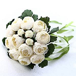 DY2DY Wedding Bouquet Wedding Bride Holding Flowers,Silk Colth Simulation White Camellia 43