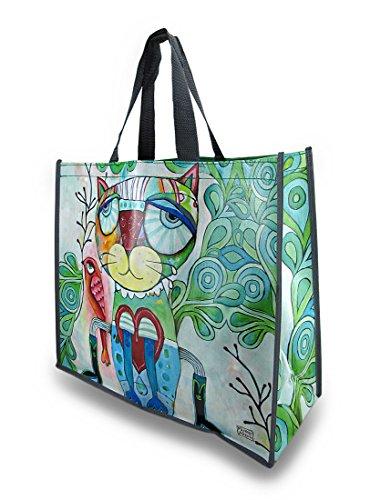 Allen Designs Colorful Cat and Bird Artistic Shopper Bag