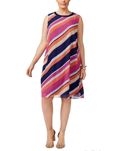 SL Fashions Plus Size Striped Shift Dress at Amazon Women\'s ...