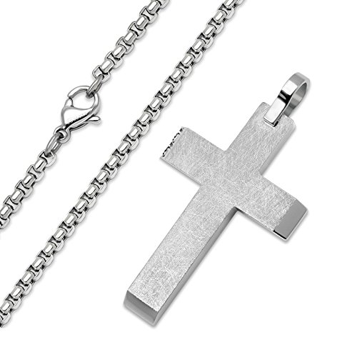 COOLUXU Stainless Steel Cross Pendant Necklace Chain for Men Women with 20 Inches Rolo Chain (Brushed Cross Pendant)