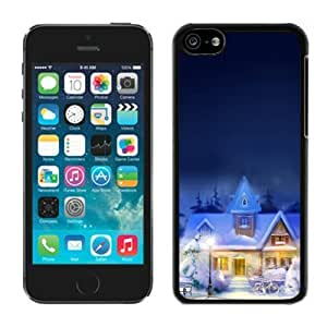 2014 New Style Iphone 5C TPU Case Christmas Town iPhone 5C Case Black