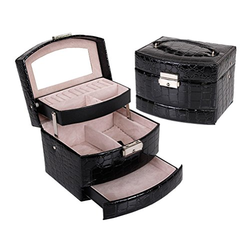 Frcolor Cosmetic Makeup Bag PU Leather Crocodile Pattern 3-Tier Mirror Jewelry Box Organizer Black Crocodile Pattern Fine Leather