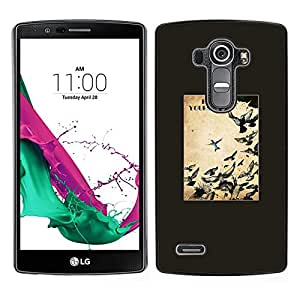 LECELL--Funda protectora / Cubierta / Piel For LG G4 -- Aves Libertad Texto libre Negro --