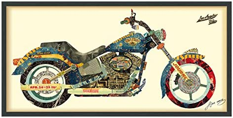 Empire Art Direct Los Angeles Rider Dimensional Collage Handmade by Alex Zeng Framed Graphic Motorcycle Wall Art 25 x 48 x 1.4 , Ready to Hang