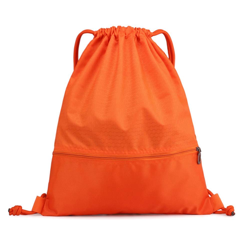 orange Drawstring Harness Pocket Backpack, Unisex Outdoor Travel Backpack, Waterproof and Lightweight Folding Sports Gym Bag,Green