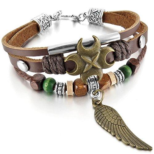 MunkiMix Alliage Genuine Leather Véritable Bois Bracelet Bracelet Menotte Brun Ton d'Argent Croix Ange Aile Boule Perle Relief Surfer Enveloppez Enrouler Tribal Femme