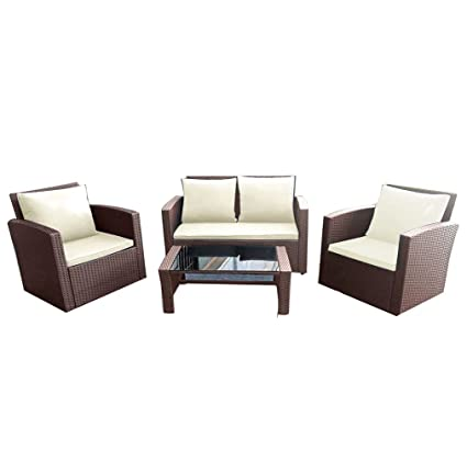 Amazon.com: Panana - Juego de muebles de jardín de mimbre de ...