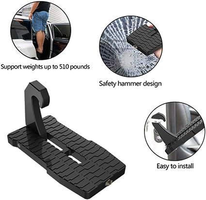 Amazon.es: Doorstep Para Coche, Pernos De Escalera Plegables Para Coche, Con Función De Martillo De Seguridad, Para SUV, Peldaños De Puerta De Tamaño Completo, Fácil Acceso A La Baca Del Techo Del