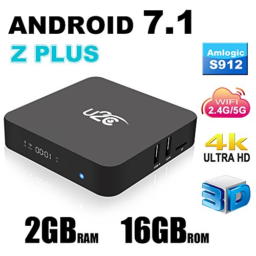 2017 NEW Model Android 7.1 Z PLUS Smart TV BOX 2GB 16GB Amlogic S912 Octa Core 3D 4K H.265 VP9 2.4/5GHz Dual-Band WiFi Media Player with LED Display Gigabit 1000M LAN Ethernet