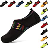VIFUUR Water Sports Shoes Barefoot Quick-Dry Aqua Yoga Socks Slip-on for Men Women Kids LoveBlack-40/41