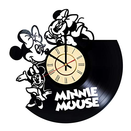 Minnie Mouse Vinyl Clock Gifts for Walt Disney Fans Plane Crazy Wall Decor Mickey Mouse Art Minerva Mouse Handmade Living Room Artwork]()