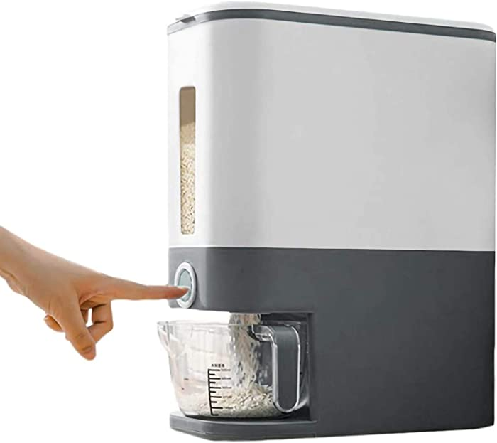 Rice Storage Container,Rice Dispenser,Large Sealed Grain Container,Dry Food Dispenser, Dry Food Fruit Storage Box For Home and Kitchen (Gray)