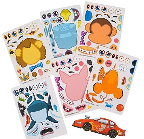 - RIN - 4 Dozen (48) Assorted Craft Sticker Sheets - Animals Cars Sharks - Craft Activity Daycare Scouts Classroom Teacher Party Favors Stocking Stuffers - Make Your own