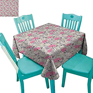 "longbuyer Floral,Customized Tablecloth,Wild Garden Foliage Dahlia Peony Pansy Flora Pink Petals Pastel Colors Feminine,70""x70"",Suitable for Kitchen, dustproof Desktop Decoration 52"