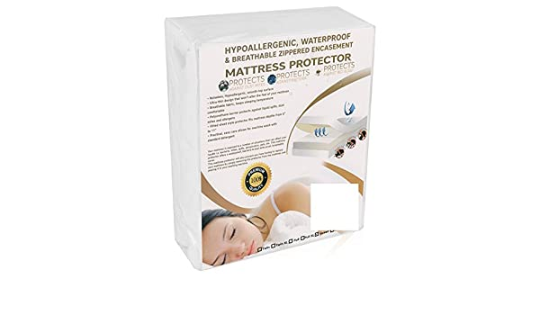 Zippered Plastic Mattress Protector Waterproof Mattresses Cover Full Size White