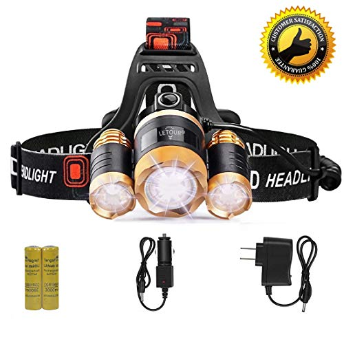 LETOUR Headlight, Brightest 6000 Lumen CREE LED Work Headlamp,18650 Rechargeable Waterproof Flashlight with Zoomable Head Light,Bright Head Lights for Camping Running Hiking