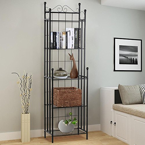 Topeakmart 5-Tier Shelving Unit Bakers Rack Storage Kitchen Metal Baker Organizer Shelves Corner Planter Stand Storage Shelves Book Stand Indoor Outdoor, Black