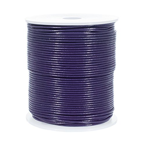 25 Yards of Solid Round 1.5mm Purple Real and Genuine Leather Cord for use as Braiding String (1.5mm, - Braiding Supplies Leather