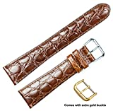 deBeer brand Alligator Grain Watch Band (Silver & Gold Buckle) - Havana 15mm
