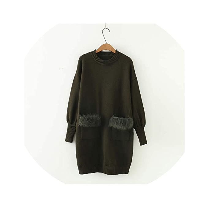 af95442eb495 crazy-shop Pull Long Sleeve Sweater Dress Faux Fur Pocket Knitted Pullover  Causal O-