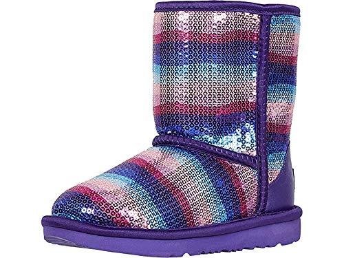 UGG Girls' Classic II Sequin Rainbow Fashion Boot, Violet, 4 M US Big Kid (Purple Woman Ugg Boots)