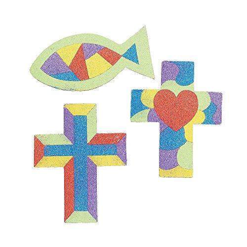 Sand Magnet - Fun Express - Religious Sand Art Magnet Craft Kit - Craft Supplies - Sand Art - Sheets - 12 Pieces