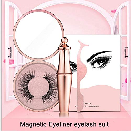 Volwco Magnetic Eyeliner with Magnetic Eyelashes Kit, Waterproof Black Smooth Liquid Eye Liner Eyeliner Reusable 5 Magnets 3D False Lashes, Fast Drying Lasting Cosmetics for Women Makeup Natural Look