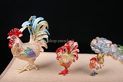Bejeweled Rooster Chicken Statue Figurine Vintage Chicken / Rooster Trinket Jewelry Box (6x7.5CM) by znewlook (Image #2)