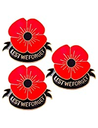 Blinst Lest We Forget Poppy Brooch Pin Flower Broach Memorial Day Remembrance Day