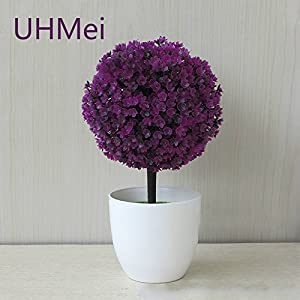 UHMei Snowball Simulation Plant Pot Grass Ball Bonsai Small Tree Home Decoration Flower Ornaments Creative Mini Ball Artificial Flower (Lotus) 117