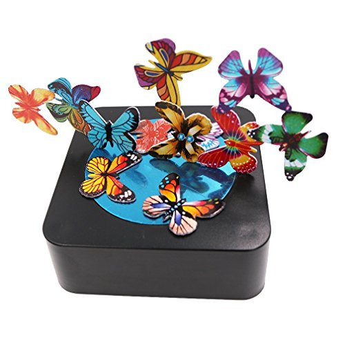 Bylion Magnetic Sculpture Desk Toy Stress Reliever Cool Gift Decoration for All Ages - Square Base and Colorful Butterflies by Bylion