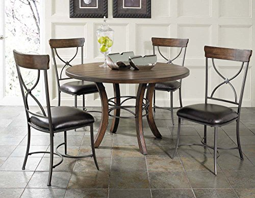 5-Piece Round Wood Base Dining Set with X-Back Chairs