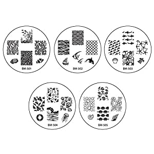 Bundle Monster 10pc Nail Art Stamping Image Plates - 2014 Sun Kissed Collection by BMC