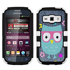 One Tough Shield ? 3-Layer Hybrid Case (Black/White) for Samsung Galaxy Prevail 2 II M840 - (Denim/Owl/Eyeglasses)