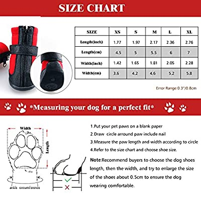 Dog Winter Shoes, URBEST Dog Boots Sports Non-slip Pet Dog PU Leather Reflective Velcro and Rugged Anti-Slip Sole Water Resistant Puppy Boots Rain Shoes, 2 Pairs