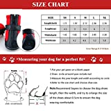 """Dog Winter Shoes, URBEST Dog Boots Sports Non-slip Pet Dog PU Leather Reflective Velcro and Rugged Anti-Slip Sole Water Resistant Puppy Boots Rain Shoes, 2 Pairs(XS: 1.41"""" x 1.77"""", Red)"""