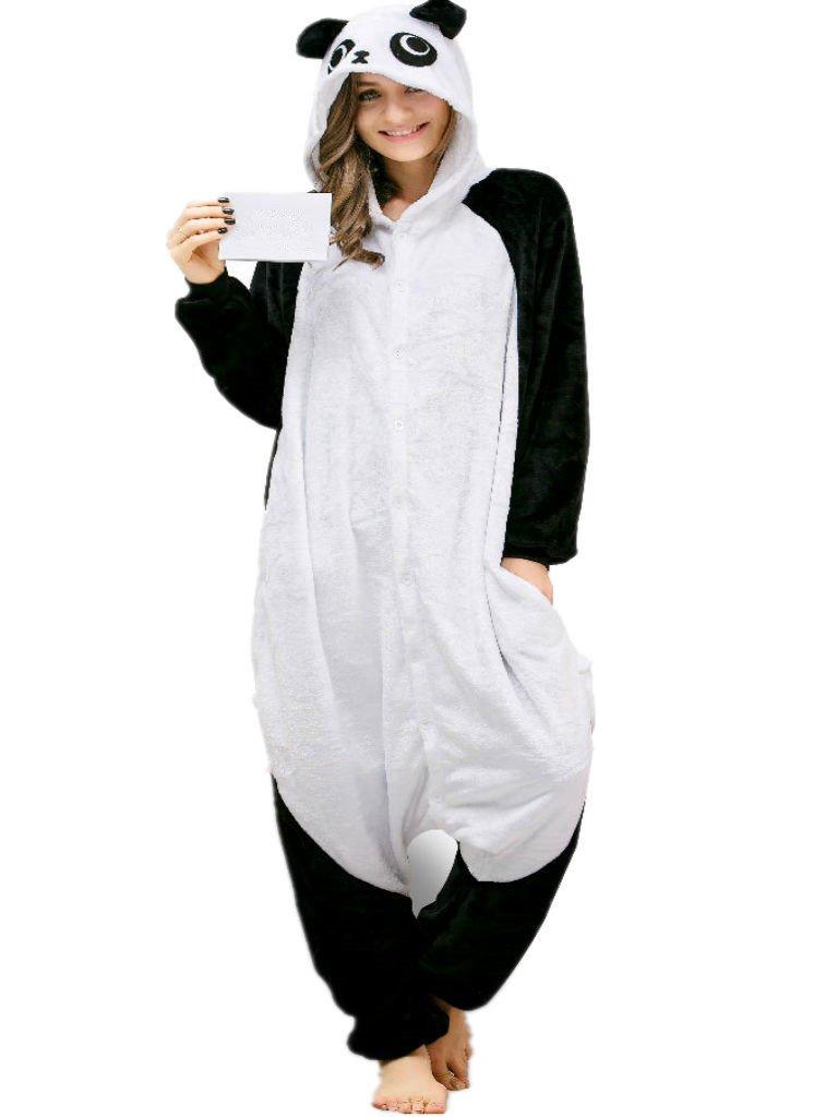 Adult Pajamas Panda Costume Onesies for Women Men Teens Girls Youth Animal Onsie White Panda XL Fit Height 70''-73'' (177CM-185CM)