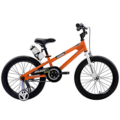 RoyalBaby BMX Freestyle Kids Bike, Boy's Bikes and Girl's Bikes with training wheels, Gifts for children, 18 inch wheels, Orange (Bike Wheel Size)