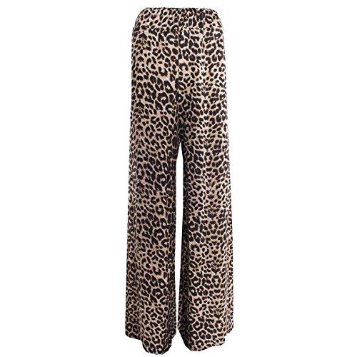 Janisramone damas pantalones palazzo holgado pantalones elásticos de la pierna ancha Leopard Paper Print
