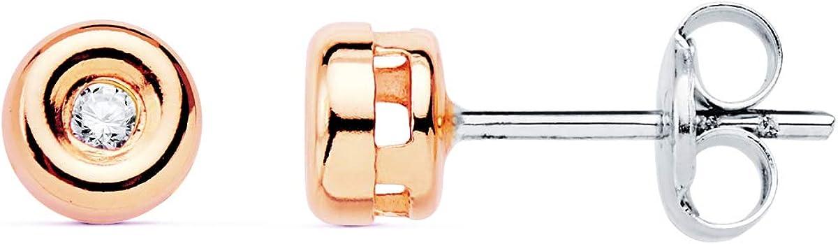Pendientes con Diamantes Oro Rosa 18K Brillantes 0,040 ct. Joyas de Mujer. Dormilona, Chatón, Punto de Luz