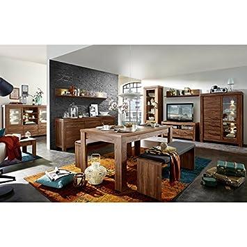 Wohnzimmer Esszimmer Set Ganto258 Akazie Dunkel Amazon De Kuche