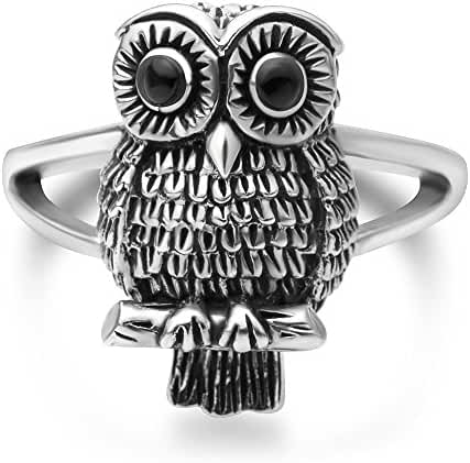 925 Oxidized Sterling Silver Vintage Owl Bird Band Ring Women Jewelry Size 6, 7, 8