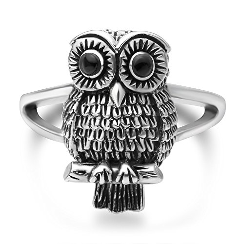 Chuvora 925 Oxidized Sterling Silver Vintage Owl Bird Black Eyes Band Ring Women Jewelry Size 8