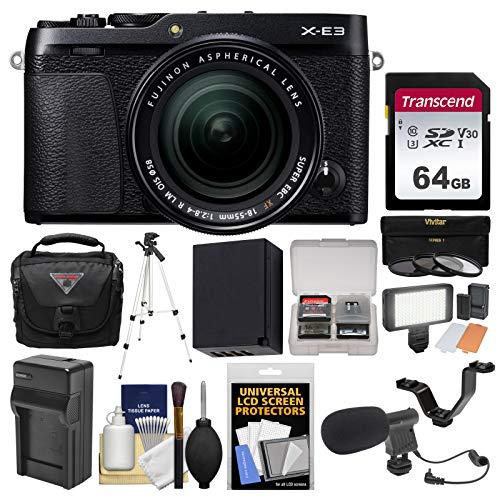 Fujifilm X-E3 4K Digital Camera & 18-55mm XF Lens (Black) with 64GB Card + Case + Video Light + Mic + Battery & Charger + Tripod + Filters Kit