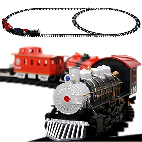 Retro Train Set  Tswa Classical Locomotive Battery Operated Steam Train Rail Set  Go Toy Train With Real Smoke  Music  Lights Railway Car Set