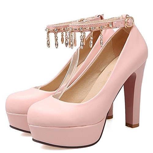 Party Platform Elegant Pumps Buckle Shoes TAOFFEN Women Strap High Pink Heel BnqA1UFx