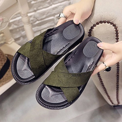 Non women Comfortable Slippers green Wearing Students Flat Slip Summer A Platform WHLShoes Military Ladies With Flat Breathable And Bottomed slippers Fashion 5InwqaO