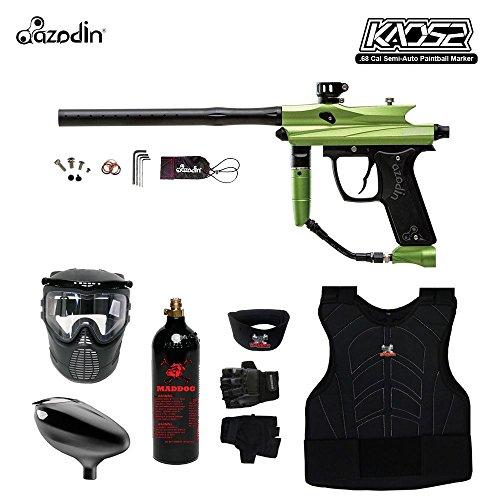 MAddog Azodin KAOS 2 Beginner Protective CO2 Paintball Gun Package - Green/Black (Spyder Paintball Gun Green)