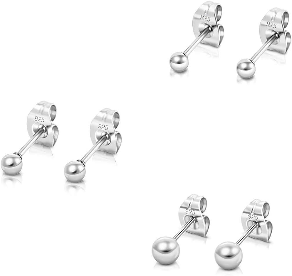3mm, 4mm /& Set of 2 Genuine 925 Sterling Silver Plain Round Ball Stud Earrings